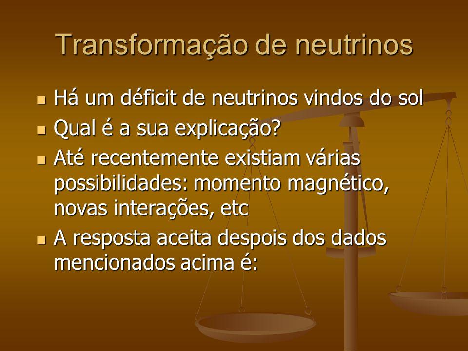 Transformação de neutrinos Há um déficit de neutrinos vindos do sol Há um déficit de neutrinos vindos do sol Qual é a sua explicação? Qual é a sua exp
