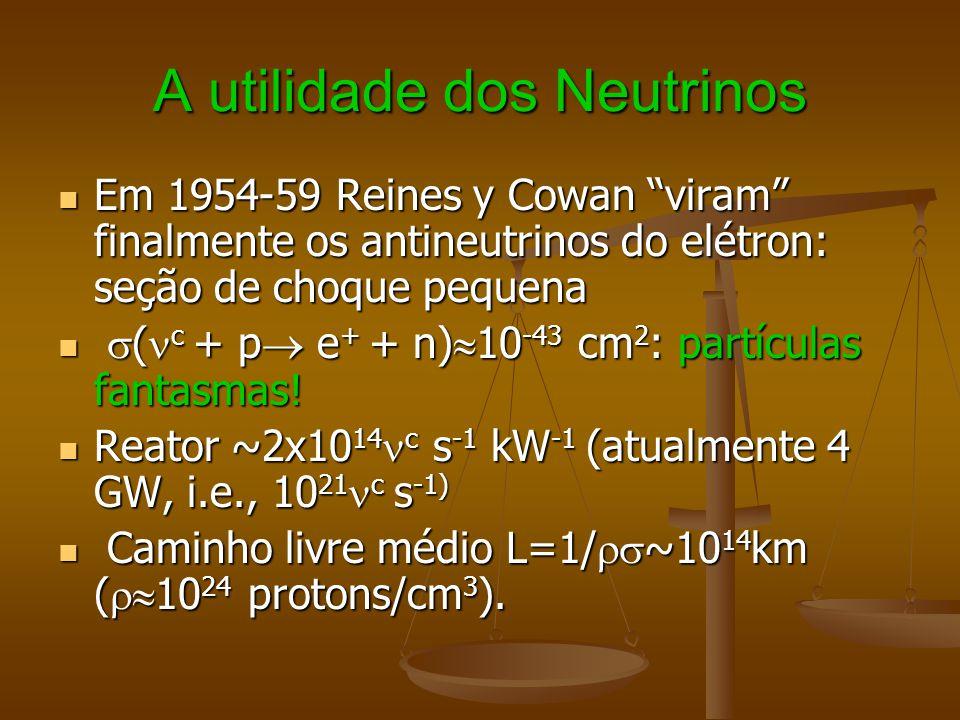 A utilidade dos Neutrinos Em 1954-59 Reines y Cowan viram finalmente os antineutrinos do elétron: seção de choque pequena Em 1954-59 Reines y Cowan vi