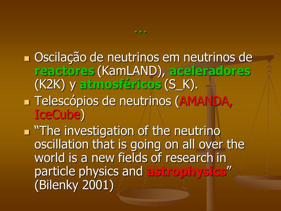 ... Oscilação de neutrinos em neutrinos de reactores (KamLAND), aceleradores (K2K) y atmosféricos (S_K). Oscilação de neutrinos em neutrinos de reacto