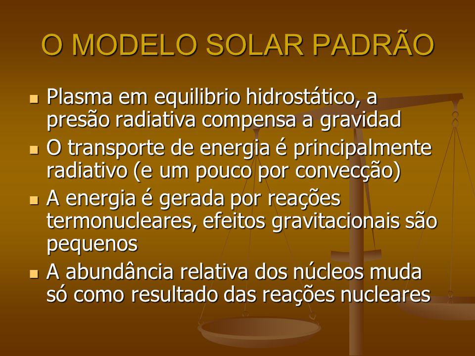 O MODELO SOLAR PADRÃO Plasma em equilibrio hidrostático, a presão radiativa compensa a gravidad Plasma em equilibrio hidrostático, a presão radiativa
