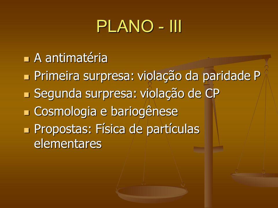 PLANO - III A antimatéria A antimatéria Primeira surpresa: violação da paridade P Primeira surpresa: violação da paridade P Segunda surpresa: violação