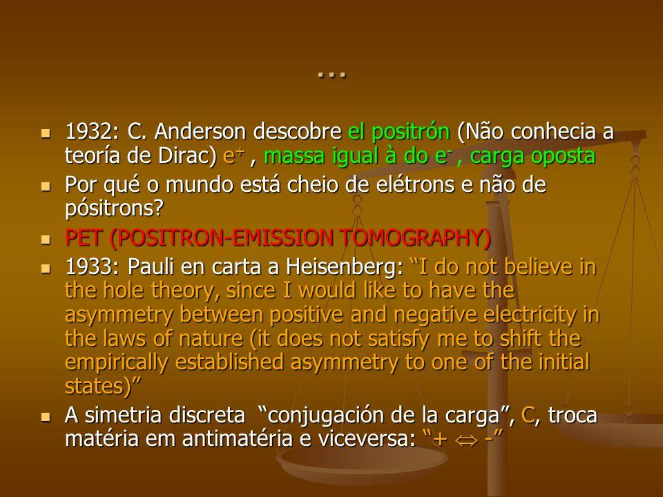 ... 1932: C. Anderson descobre el positrón (Não conhecia a teoría de Dirac) e +, massa igual à do e - carga oposta 1932: C. Anderson descobre el posit
