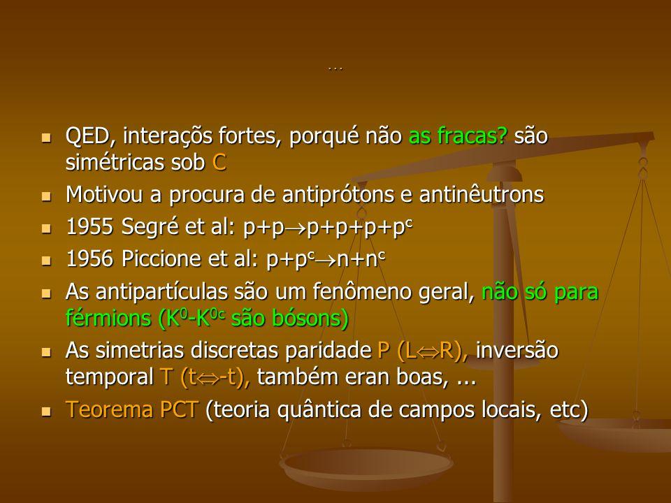 ... QED, interaçõs fortes, porqué não as fracas? são simétricas sob C QED, interaçõs fortes, porqué não as fracas? são simétricas sob C Motivou a proc