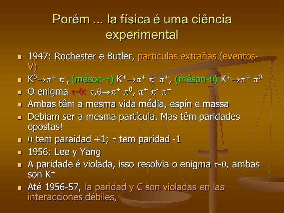 Porém... la física é uma ciência experimental 1947: Rochester e Butler, partículas extrañas (eventos- V) 1947: Rochester e Butler, partículas extrañas