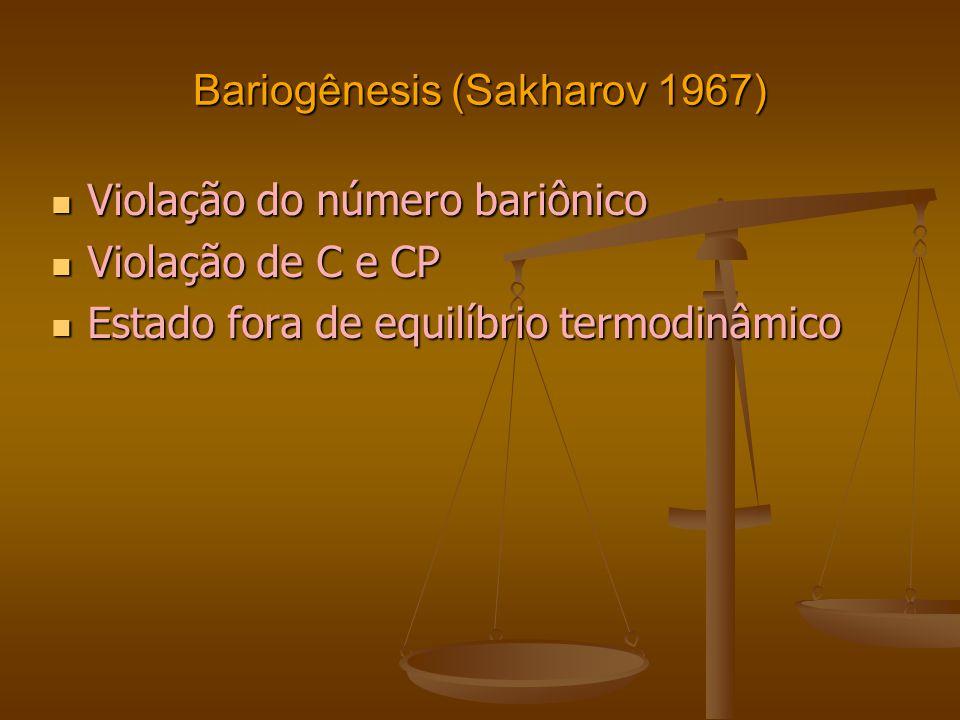 Bariogênesis (Sakharov 1967) Violação do número bariônico Violação do número bariônico Violação de C e CP Violação de C e CP Estado fora de equilíbrio