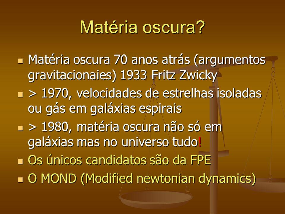 Matéria oscura? Matéria oscura 70 anos atrás (argumentos gravitacionaies) 1933 Fritz Zwicky Matéria oscura 70 anos atrás (argumentos gravitacionaies)