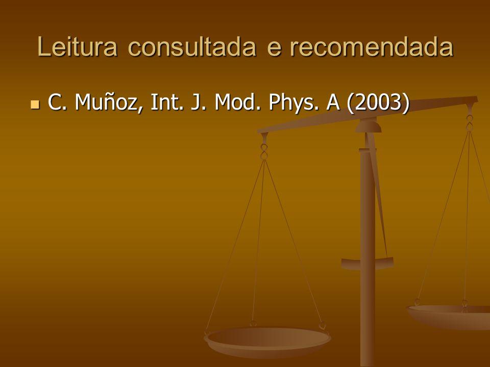 Leitura consultada e recomendada C. Muñoz, Int. J. Mod. Phys. A (2003) C. Muñoz, Int. J. Mod. Phys. A (2003)