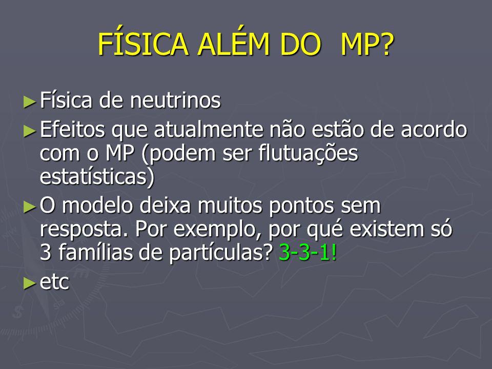 FÍSICA ALÉM DO MP? Física de neutrinos Física de neutrinos Efeitos que atualmente não estão de acordo com o MP (podem ser flutuações estatísticas) Efe