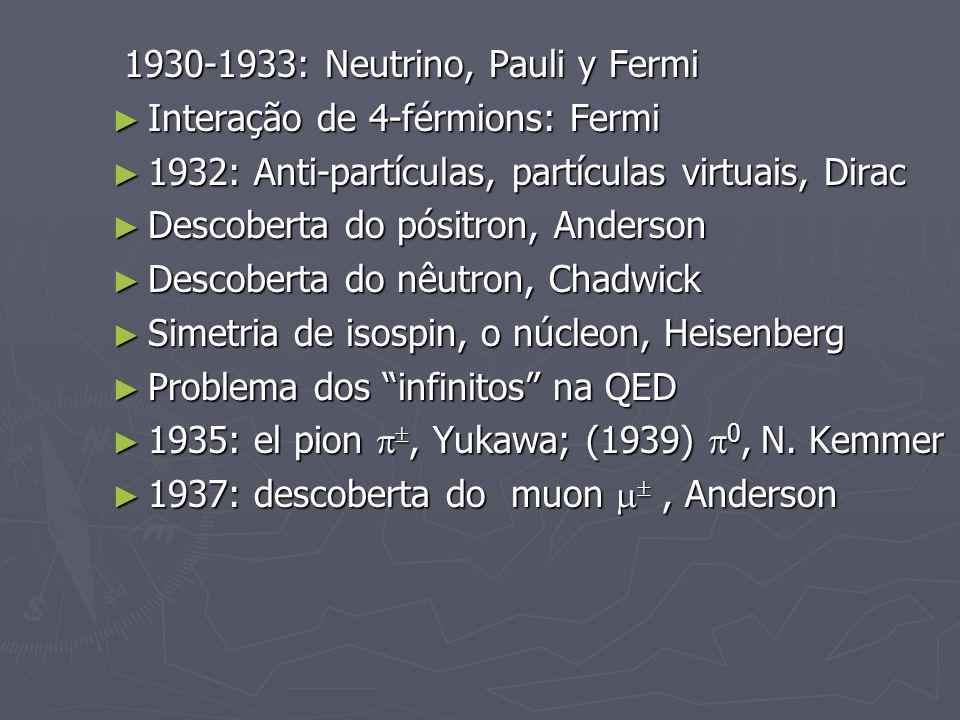 1930-1933: Neutrino, Pauli y Fermi 1930-1933: Neutrino, Pauli y Fermi Interação de 4-férmions: Fermi Interação de 4-férmions: Fermi 1932: Anti-partícu
