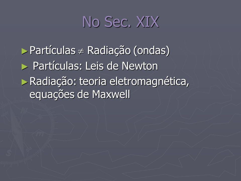No Sec. XIX Partículas Radiação (ondas) Partículas Radiação (ondas) Partículas: Leis de Newton Partículas: Leis de Newton Radiação: teoria eletromagné