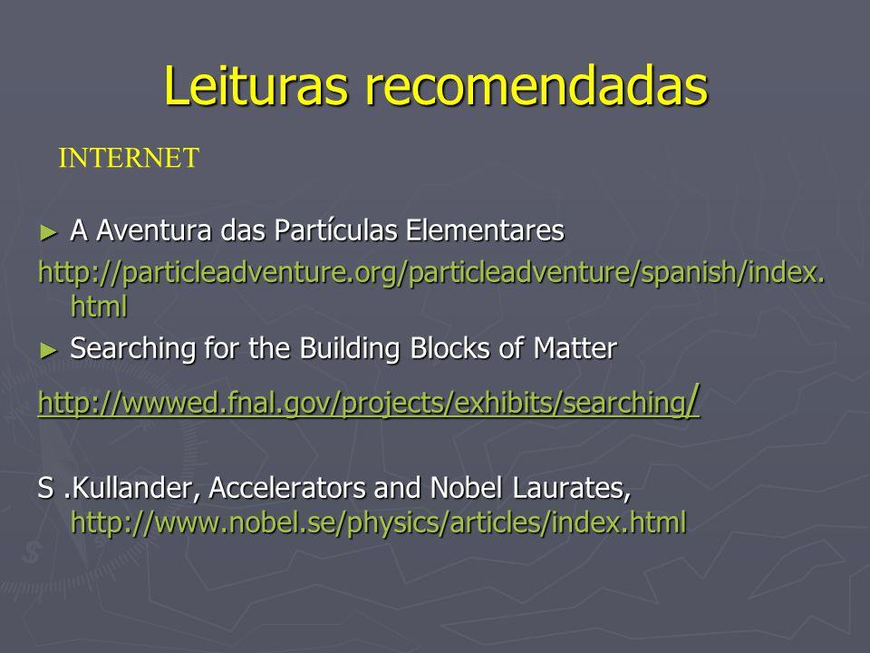 Leituras recomendadas A Aventura das Partículas Elementares A Aventura das Partículas Elementares http://particleadventure.org/particleadventure/spani