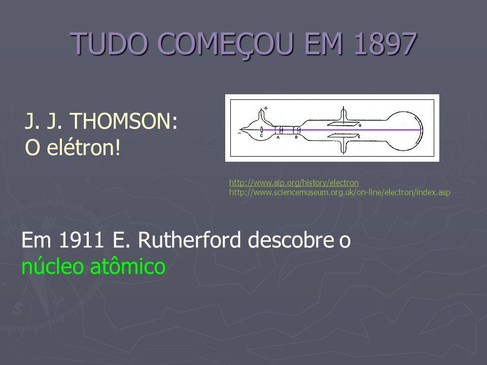 TUDO COMEÇOU EM 1897 J. J. THOMSON: O elétron! http://www.aip.org/history/electron http://www.sciencemuseum.org.uk/on-line/electron/index.asp Em 1911