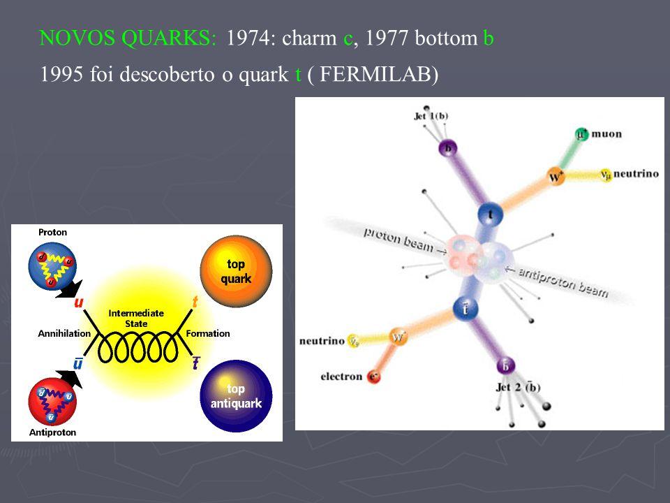 NOVOS QUARKS: 1974: charm c, 1977 bottom b 1995 foi descoberto o quark t ( FERMILAB)