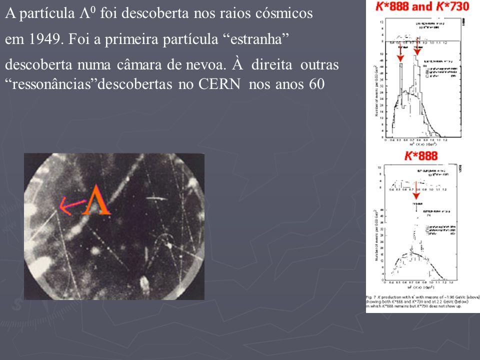 A partícula 0 foi descoberta nos raios cósmicos em 1949. Foi a primeira partícula estranha descoberta numa câmara de nevoa. À direita outras ressonânc