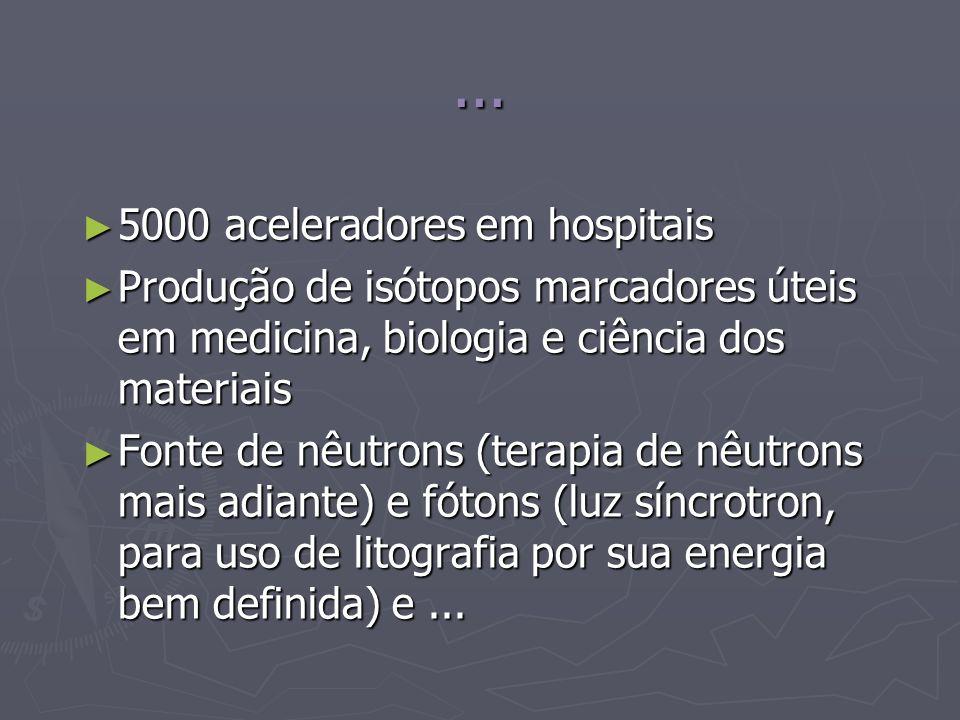 ... 5000 aceleradores em hospitais 5000 aceleradores em hospitais Produção de isótopos marcadores úteis em medicina, biologia e ciência dos materiais