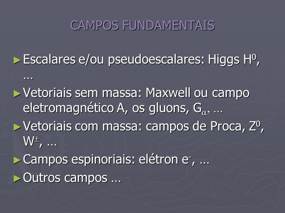 CAMPOS FUNDAMENTAIS Escalares e/ou pseudoescalares: Higgs H 0, … Escalares e/ou pseudoescalares: Higgs H 0, … Vetoriais sem massa: Maxwell ou campo el
