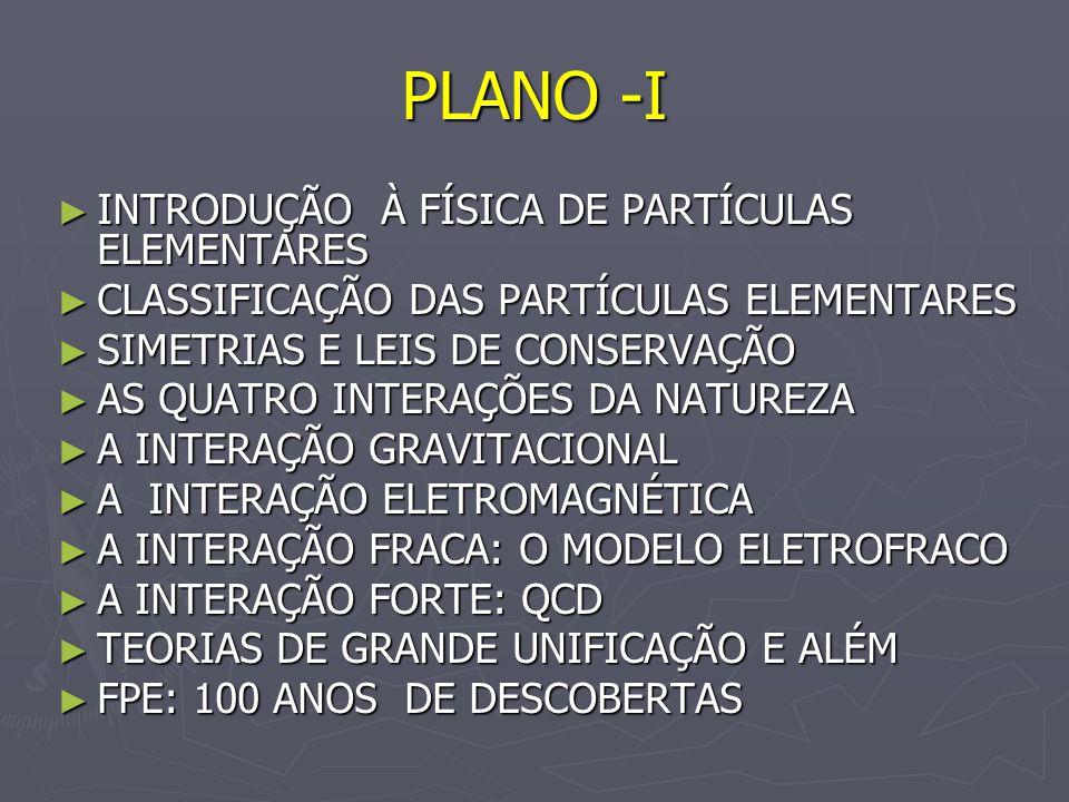 PLANO -I INTRODUÇÃO À FÍSICA DE PARTÍCULAS ELEMENTARES INTRODUÇÃO À FÍSICA DE PARTÍCULAS ELEMENTARES CLASSIFICAÇÃO DAS PARTÍCULAS ELEMENTARES CLASSIFI