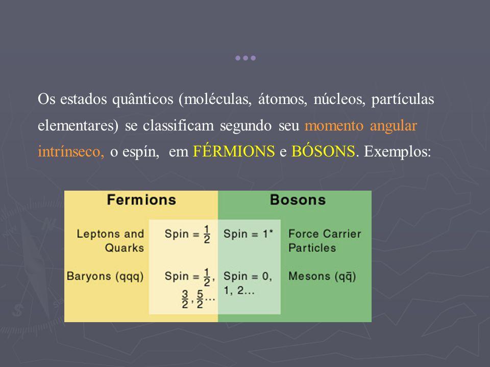 Os estados quânticos (moléculas, átomos, núcleos, partículas elementares) se classificam segundo seu momento angular intrínseco, o espín, em FÉRMIONS