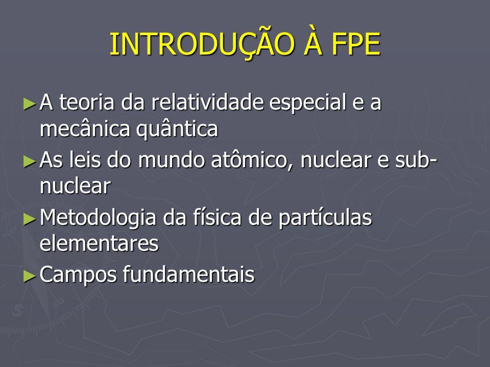 INTRODUÇÃO À FPE A teoria da relatividade especial e a mecânica quântica A teoria da relatividade especial e a mecânica quântica As leis do mundo atôm