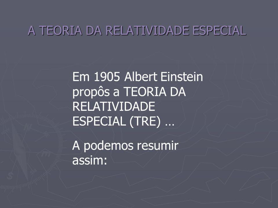 A TEORIA DA RELATIVIDADE ESPECIAL Em 1905 Albert Einstein propôs a TEORIA DA RELATIVIDADE ESPECIAL (TRE) … A podemos resumir assim: