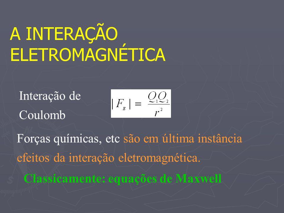 A INTERAÇÃO ELETROMAGNÉTICA Interação de Coulomb Forças químicas, etc são em última instância efeitos da interação eletromagnética. Classicamente: equ