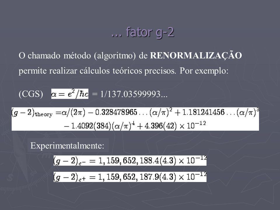 ... fator g-2 = 1/137.03599993... Experimentalmente: O chamado método (algoritmo) de RENORMALIZAÇÃO permite realizar cálculos teóricos precisos. Por e