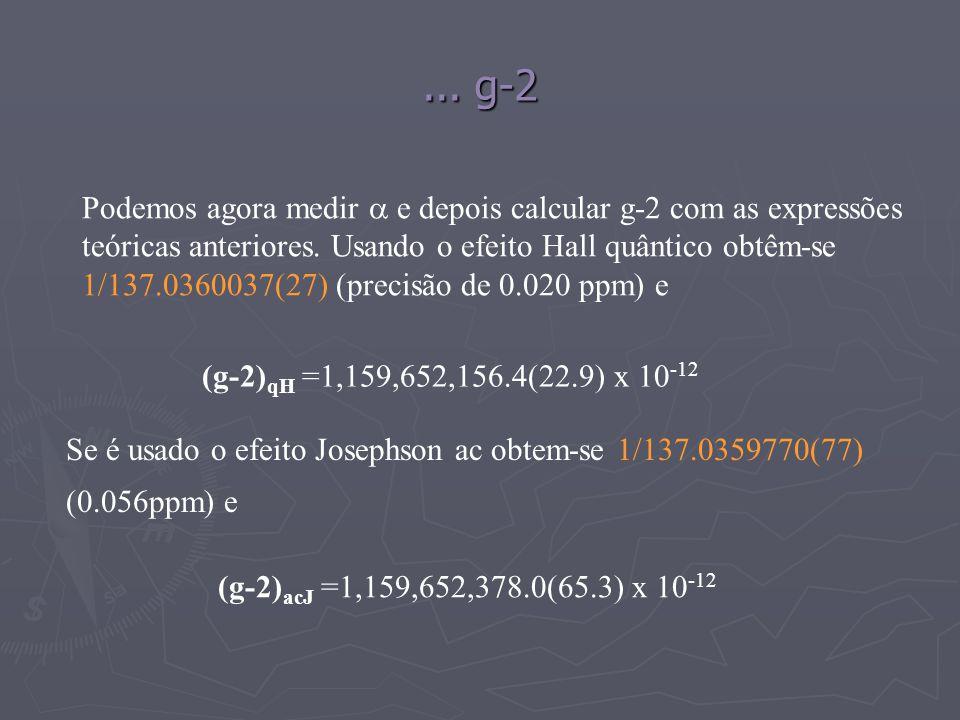 ... g-2 (g-2) qH =1,159,652,156.4(22.9) x 10 -12 (g-2) acJ =1,159,652,378.0(65.3) x 10 -12 Podemos agora medir e depois calcular g-2 com as expressões