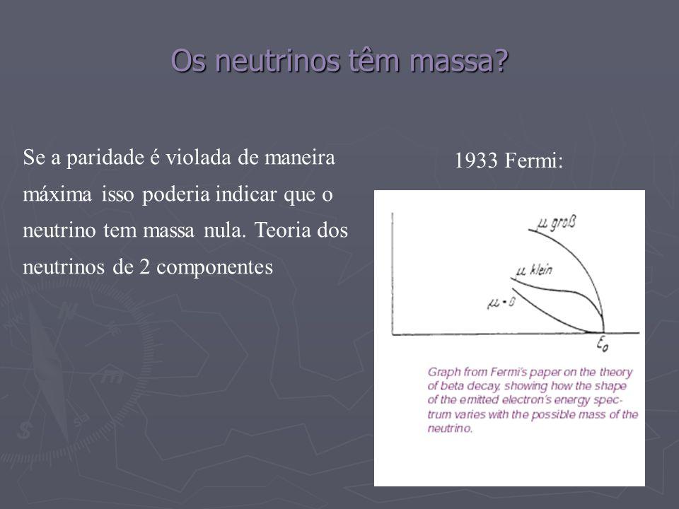 Os neutrinos têm massa? 1933 Fermi: Se a paridade é violada de maneira máxima isso poderia indicar que o neutrino tem massa nula. Teoria dos neutrinos