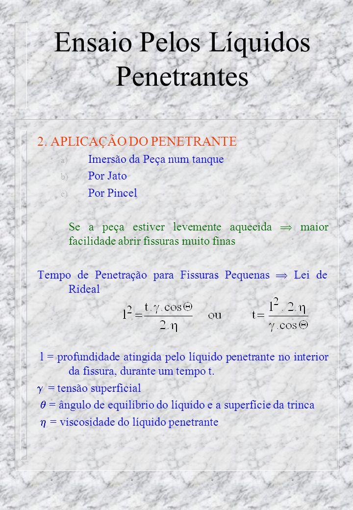 Ensaio Pelos Líquidos Penetrantes n Coeficiente de Penetração (CP) LíquidoCoeficiente dePenetração CalculadoObservado Água11,3111,40 Benzeno8,909,90 Álcool Etílico5,355,65 Álcool Isobutílico 3,753,70