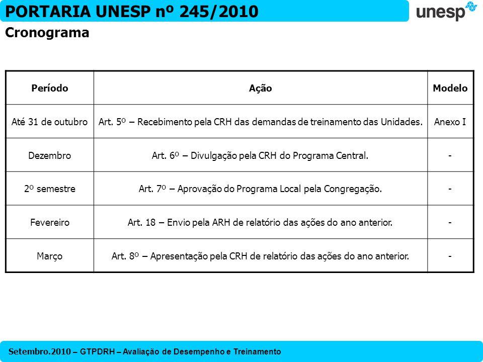 Setembro.2010 – GTPDRH – Avaliação de Desempenho e Treinamento PORTARIA UNESP nº 245/2010 Cronograma PeríodoAçãoModelo Até 31 de outubroArt. 5º – Rece