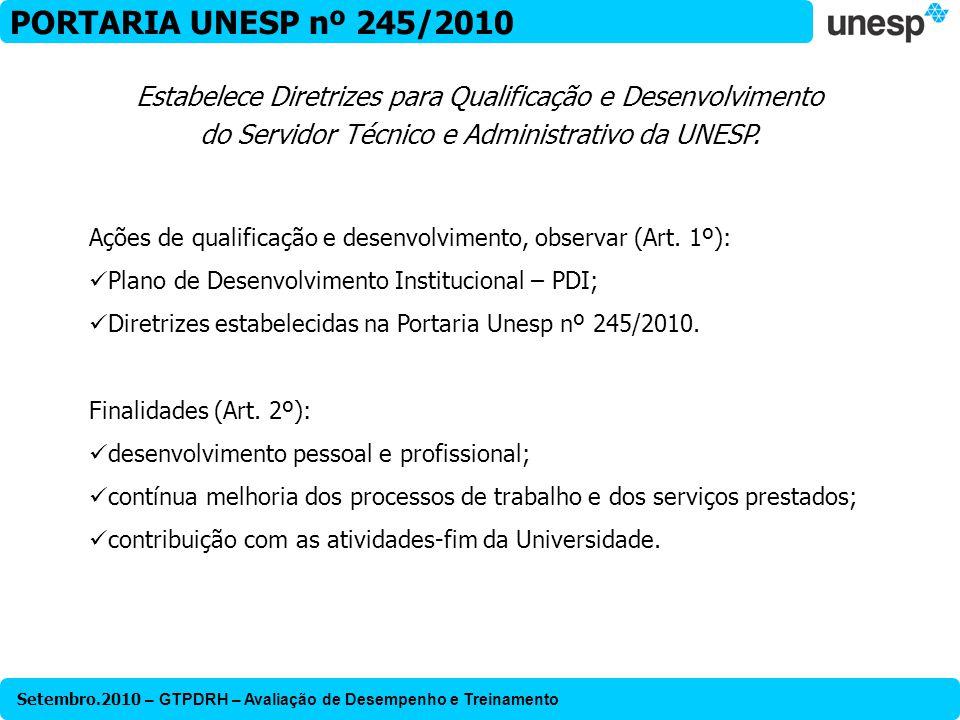 Setembro.2010 – GTPDRH – Avaliação de Desempenho e Treinamento PORTARIA UNESP nº 245/2010 Ações de qualificação e desenvolvimento, observar (Art. 1º):