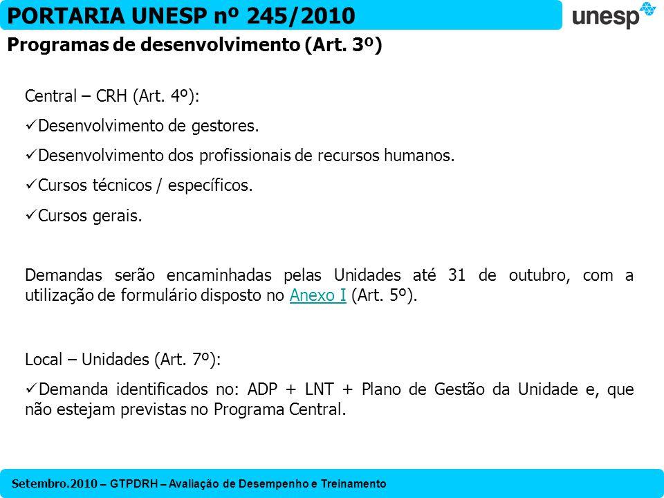 Setembro.2010 – GTPDRH – Avaliação de Desempenho e Treinamento PORTARIA UNESP nº 245/2010 Central – CRH (Art. 4º): Desenvolvimento de gestores. Desenv