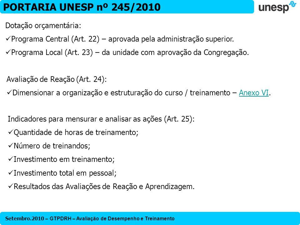 Setembro.2010 – GTPDRH – Avaliação de Desempenho e Treinamento PORTARIA UNESP nº 245/2010 Dotação orçamentária: Programa Central (Art. 22) – aprovada