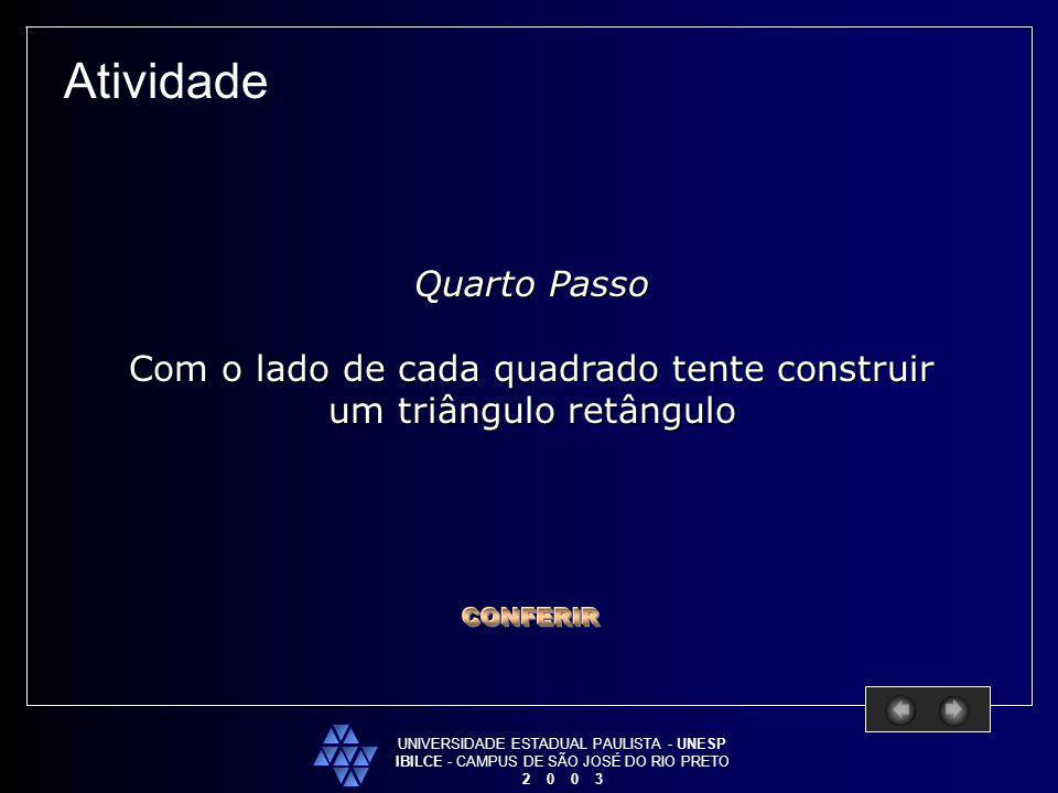 UNIVERSIDADE ESTADUAL PAULISTA - UNESP IBILCE - CAMPUS DE SÃO JOSÉ DO RIO PRETO 2 0 0 3 Atividade Quarto Passo Com o lado de cada quadrado tente const