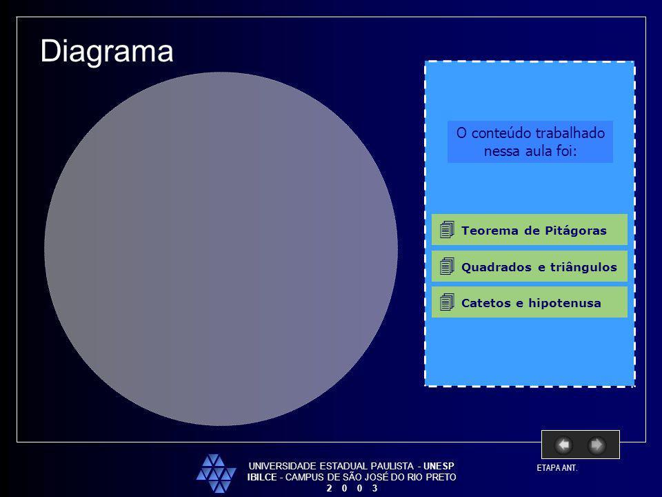 UNIVERSIDADE ESTADUAL PAULISTA - UNESP IBILCE - CAMPUS DE SÃO JOSÉ DO RIO PRETO 2 0 0 3 Diagrama O conteúdo trabalhado nessa aula foi: Teorema de Pitá