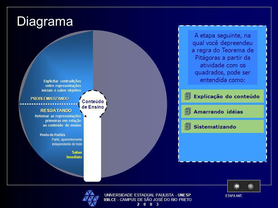 UNIVERSIDADE ESTADUAL PAULISTA - UNESP IBILCE - CAMPUS DE SÃO JOSÉ DO RIO PRETO 2 0 0 3 Conteúdo de Ensino Diagrama RESGATANDO PROBLEMATIZANDO Retomar