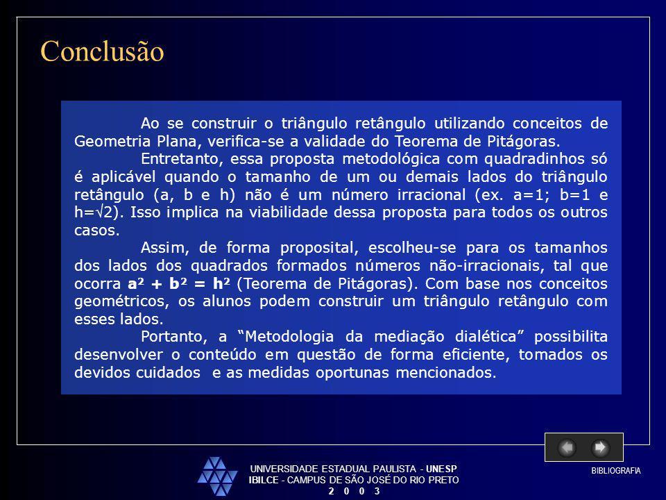 UNIVERSIDADE ESTADUAL PAULISTA - UNESP IBILCE - CAMPUS DE SÃO JOSÉ DO RIO PRETO 2 0 0 3 Conclusão Ao se construir o triângulo retângulo utilizando con