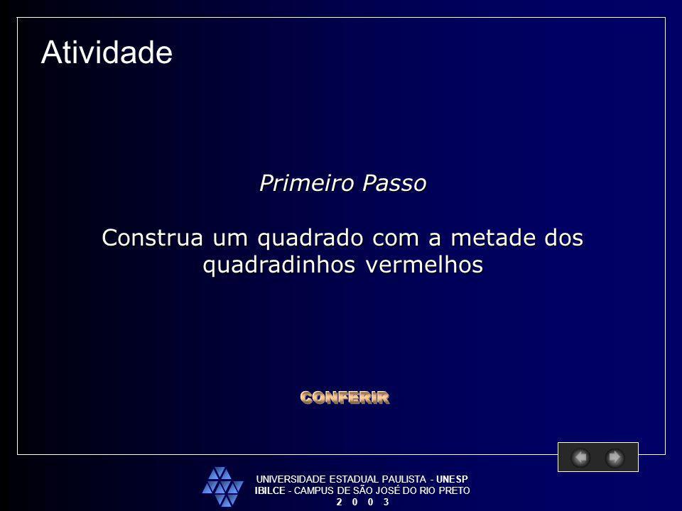 UNIVERSIDADE ESTADUAL PAULISTA - UNESP IBILCE - CAMPUS DE SÃO JOSÉ DO RIO PRETO 2 0 0 3 Atividade Primeiro Passo Construa um quadrado com a metade dos