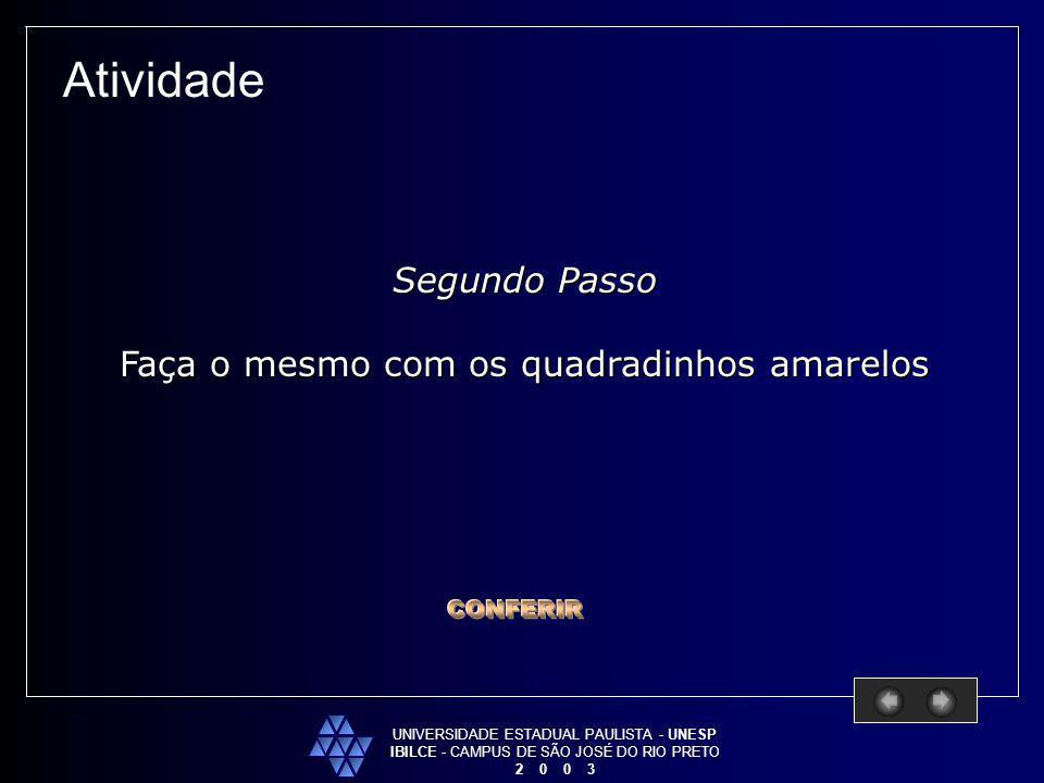 UNIVERSIDADE ESTADUAL PAULISTA - UNESP IBILCE - CAMPUS DE SÃO JOSÉ DO RIO PRETO 2 0 0 3 Atividade Segundo Passo Faça o mesmo com os quadradinhos amare