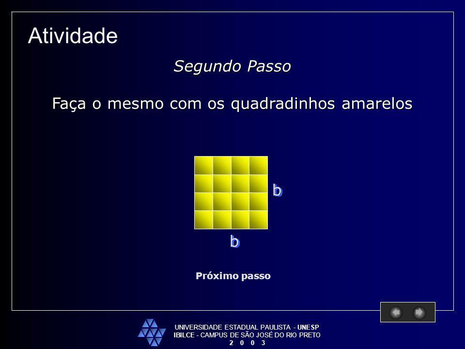 UNIVERSIDADE ESTADUAL PAULISTA - UNESP IBILCE - CAMPUS DE SÃO JOSÉ DO RIO PRETO 2 0 0 3 Atividade Próximo passo Segundo Passo Faça o mesmo com os quad