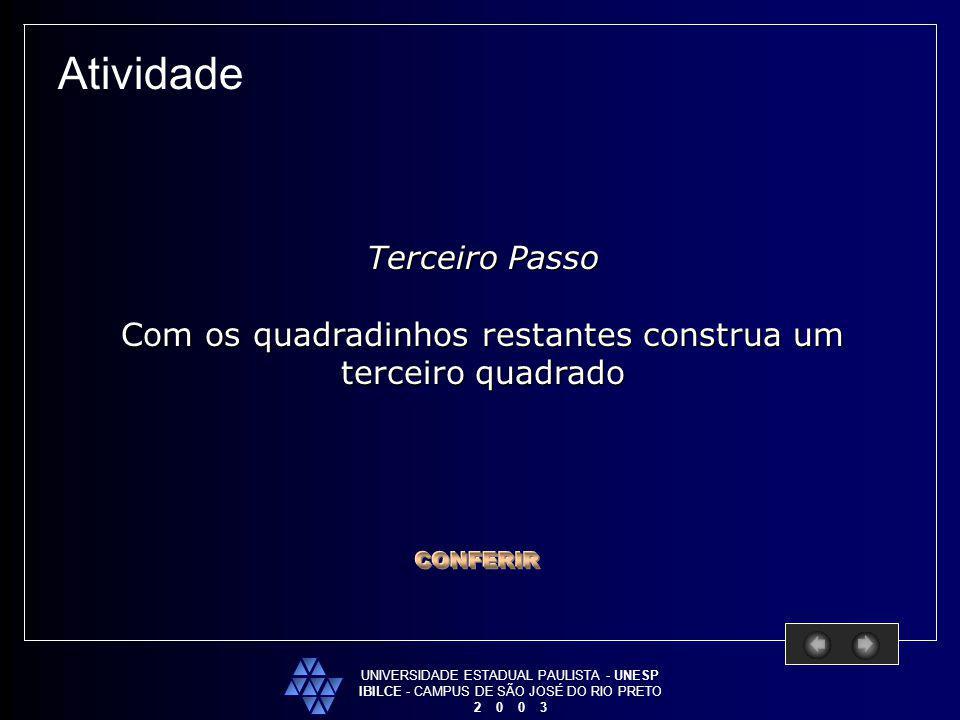 UNIVERSIDADE ESTADUAL PAULISTA - UNESP IBILCE - CAMPUS DE SÃO JOSÉ DO RIO PRETO 2 0 0 3 Atividade Terceiro Passo Com os quadradinhos restantes constru