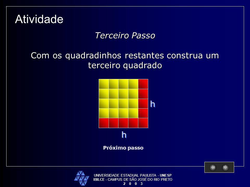 UNIVERSIDADE ESTADUAL PAULISTA - UNESP IBILCE - CAMPUS DE SÃO JOSÉ DO RIO PRETO 2 0 0 3 Atividade Próximo passo Terceiro Passo Com os quadradinhos res