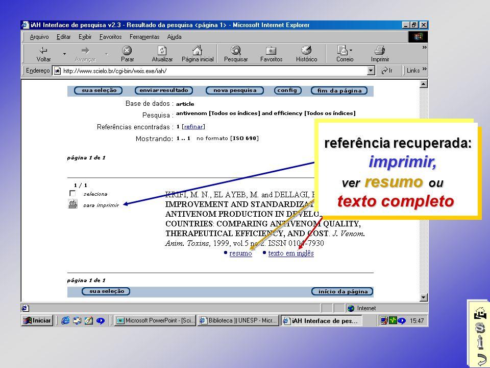 referência recuperada: imprimir, imprimir, ver resumo ou ver resumo ou texto completo texto completo