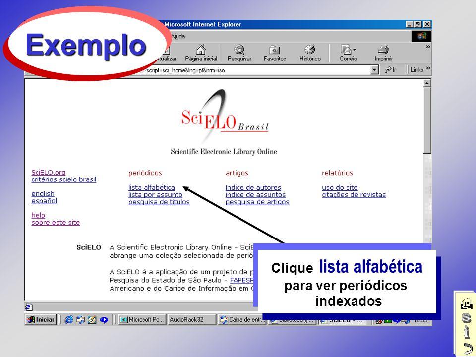 Clique lista alfabética para ver periódicos indexados Exemplo