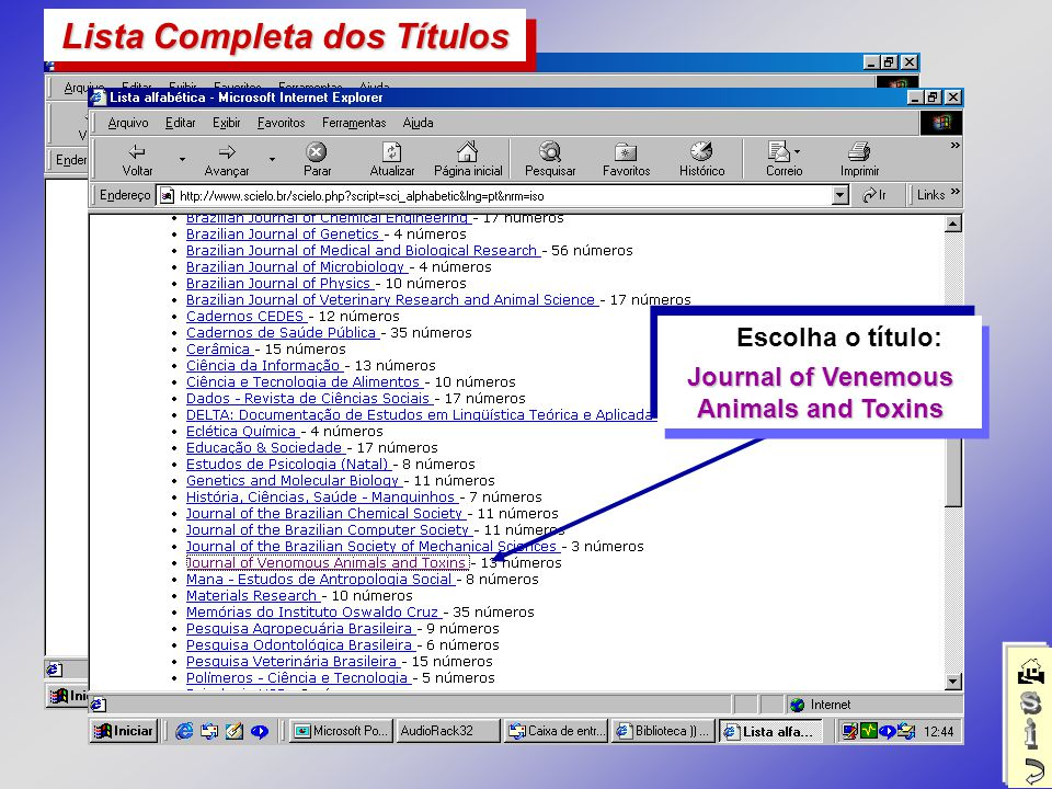 Escolha o título: Journal of Venemous Animals and Toxins Lista Completa dos Títulos