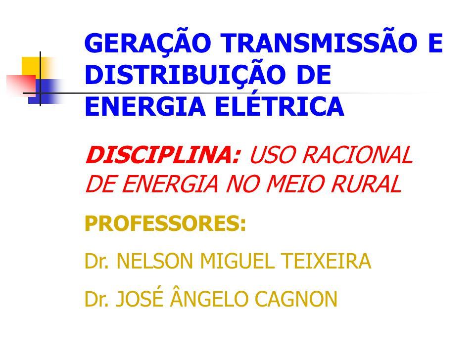GERAÇÃO TRANSMISSÃO E DISTRIBUIÇÃO DE ENERGIA ELÉTRICA DISCIPLINA: USO RACIONAL DE ENERGIA NO MEIO RURAL PROFESSORES: Dr. NELSON MIGUEL TEIXEIRA Dr. J