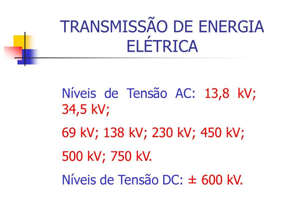 TRANSMISSÃO DE ENERGIA ELÉTRICA Níveis de Tensão AC: 13,8 kV; 34,5 kV; 69 kV; 138 kV; 230 kV; 450 kV; 500 kV; 750 kV. Níveis de Tensão DC: ± 600 kV.