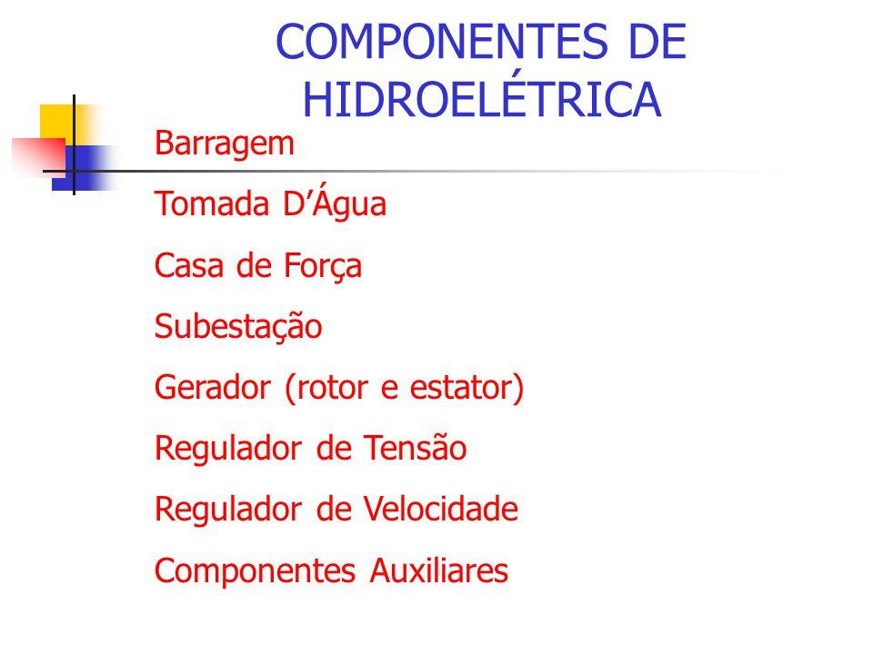 COMPONENTES DE HIDROELÉTRICA Barragem Tomada DÁgua Casa de Força Subestação Gerador (rotor e estator) Regulador de Tensão Regulador de Velocidade Comp