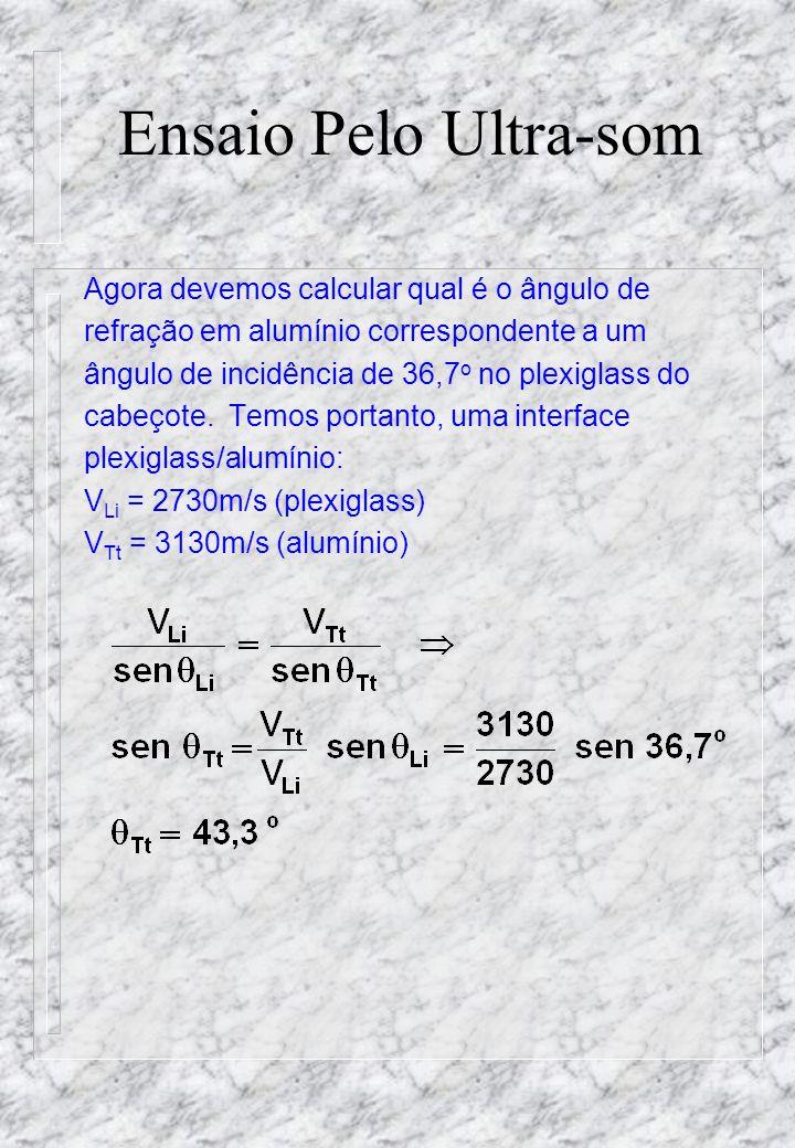 Ensaio Pelo Ultra-som Agora devemos calcular qual é o ângulo de refração em alumínio correspondente a um ângulo de incidência de 36,7 o no plexiglass do cabeçote.