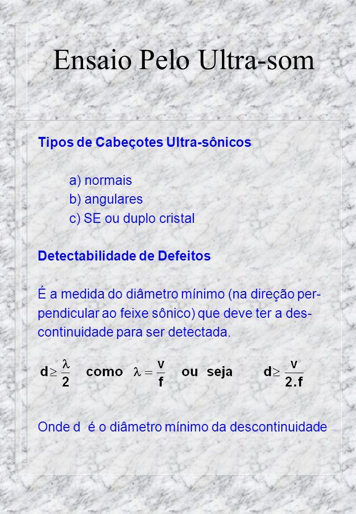Ensaio Pelo Ultra-som Tipos de Cabeçotes Ultra-sônicos a) normais b) angulares c) SE ou duplo cristal Detectabilidade de Defeitos É a medida do diâmetro mínimo (na direção per- pendicular ao feixe sônico) que deve ter a des- continuidade para ser detectada.